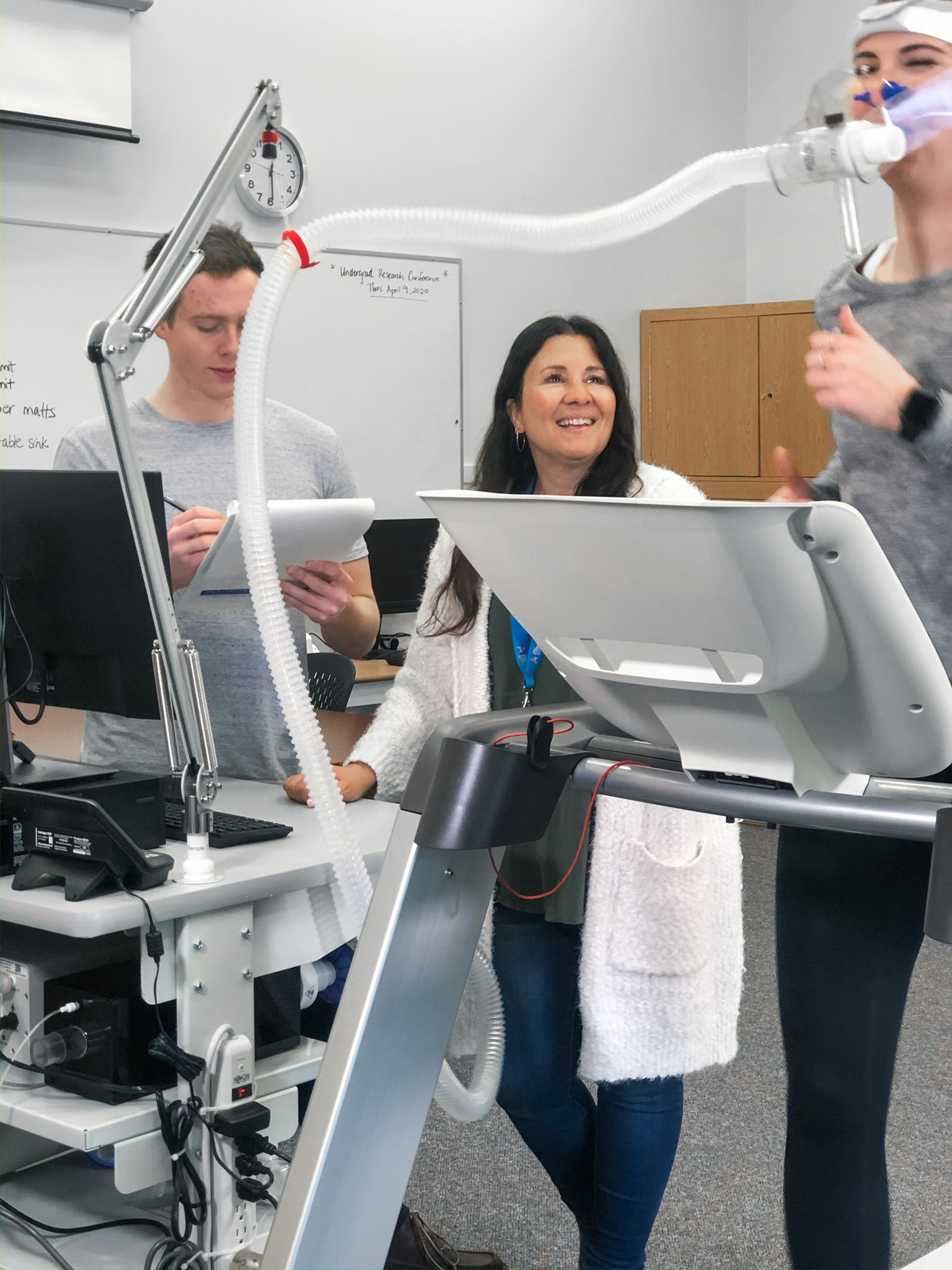 Dr. Anita Cote conducts research on athletes, with the help of TWU student researchers.