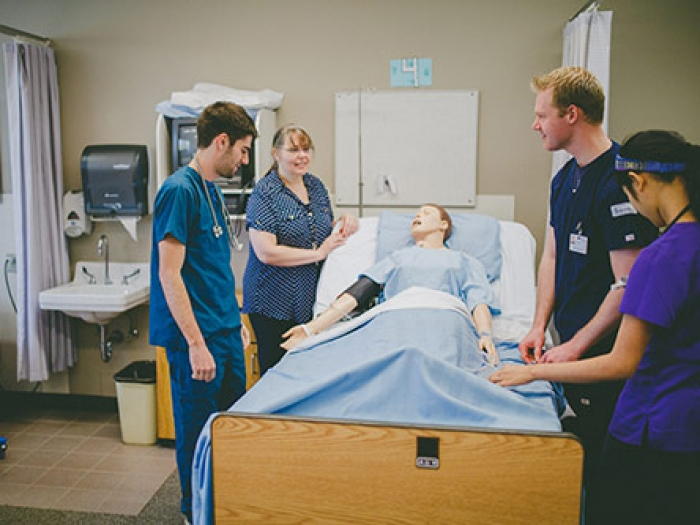 Nursing students and instructor