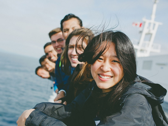 Students posing for photo on the Ferry