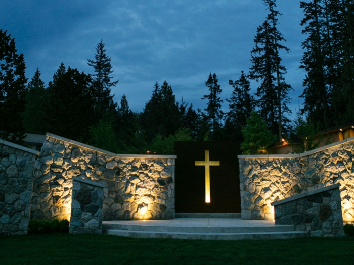 Hanson Garden Chapel at night