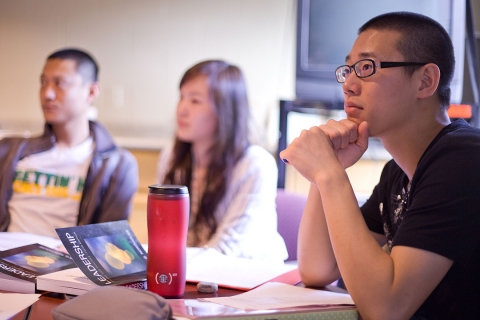 International students listening to a lecture in a classroon