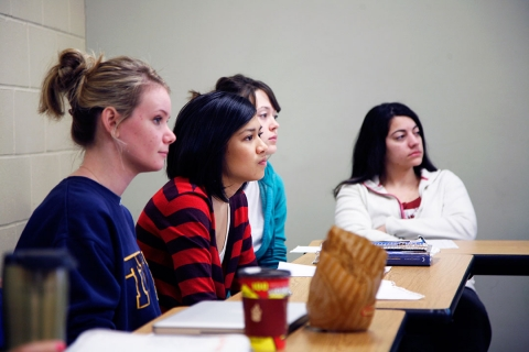Female political students sitting in class