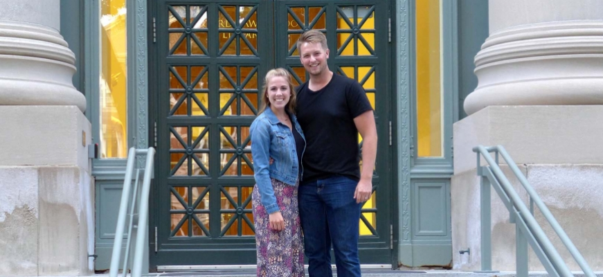 Brayden and his wife on Harvard campus